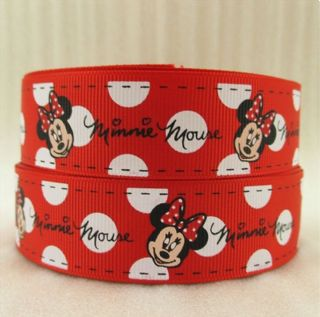 Pleasant 1 Metre Minnie Mouse Red White Polka Ribbon Size 1 Inch Bows Funny Birthday Cards Online Overcheapnameinfo